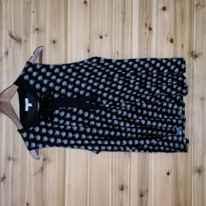 Maurices Black and White Floral Print Neck Tie Tank Top Size 2